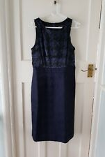 Banana Republic PETITE Mad Men Navy Blue Houndstooth Dress Size 4 / UK 6/8