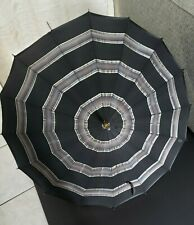 Vintage black striped umbrella,wood shaft, good condition