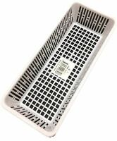 12pc Clear White Multi-purpose Plastic Storage Basket Organiser Tubs 23x9.5cm