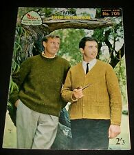 VINTAGE 1960s PATONS KNITTING BOOK - # 705 - MEN'S JUMPERS CARDIGANS