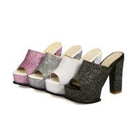 Womens Peep Toes Shoes Platform High Block Heels Slippers Sandals AU Size s972