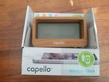 Capello Window Digital Alarm Clock with USB 2A Charger Lark Finish CA-30