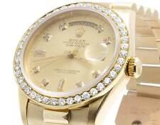 Mens Rolex 18K Yellow Gold President 18038 Day-Date 36MM Diamond Watch 3.0 Ct
