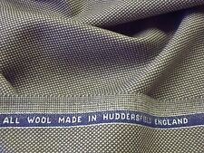 ENGLISH WOOL-SMALL DIAMOND DOBBY TWEED-BROWN/ECRU-SUITING FABRIC -FREE P+P