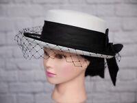 Vintage Kangol Collection Hat White Black Veil Bow 1980s Riding Goodwood Wedding