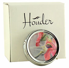 Pill Box For Purse Decorative Pill Case Vitamin Holder Metal Hummingbird Floral