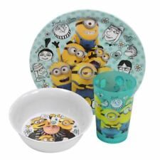 Minions Despicable Me Childrens Dinnerware Set Plate Bowl & Glass
