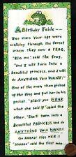 Vintage Hallmark Birthday Frog A Birthday Fable - Humorous - Greeting Card New
