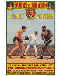Tommy Burns v Jack Johnson Art Fight Poster - 8x10 Color Photo