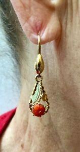 Estate Sale Vintage 18 Karat Gold Genuine Coral Lever Back Earrings