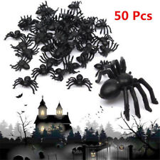 50pcs Halloween Spider Decoration Black Plastic Fake Toys Joke Prank Props New