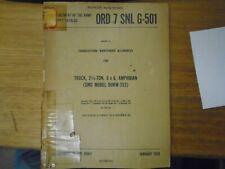 Ord 7 Snl G-501.Maintenance Allow for Truck, 2-1/2 ton 6x6, Amphibian, Dukw353.