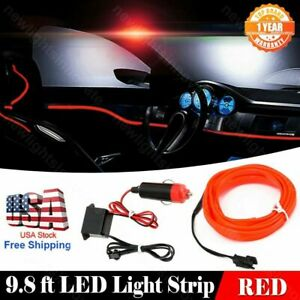 12V Car Neon Lamp Atmosphere Decor Strip 9.8ft EL Wire Red Cold Light For Honda