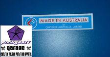 CHRYSLER VALIANT MADE IN AUSTRALIA L/BLUE COWL DECAL VE VF PACER SEDAN WAGON UTE