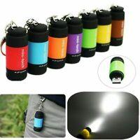 Mini USB Rechargeable Waterproof LED Light Flashlight Lamp Pocket Keyring Torch