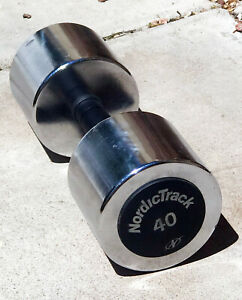 40lb NORDIC TRACK Beauty Bell chrome Single dumbbell 40 rubber handle Free Ship
