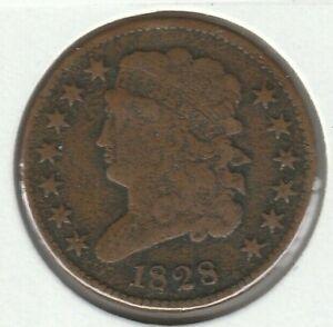 1828 13 Stars Fine F Classic Head US Half Cent 1/2C