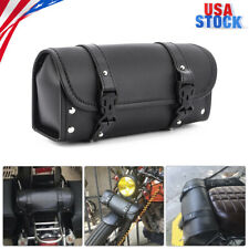Universal PU Leather Black Motorcycle Side Saddle Bags Storage Fork Tool PouchUS
