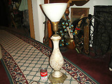 Vintage Paul Hanson Table Lamp-Gilded Gold-Gold Patterns-Glass Shade-Regency