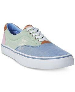 Polo Ralph Lauren Men Thorton III Casual Sneakers Colorblock Canvas 7D Blue