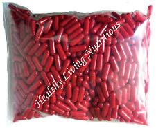 1000 EMPTY GELATIN CAPSULES gel ~SIZE 00 ~ Colored Red (Kosher/Halal))