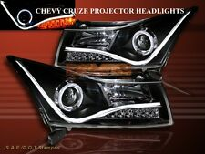 2011-2014 CHEVY CRUZE CCFL LED STRIP R8 STYLE HALO PROJECTOR HEADLIGHTS BLACK