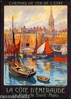 Le Port de Saint-Malo France French European Travel Art Poster Advertisement