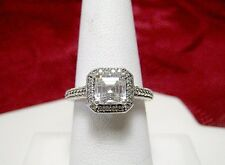 925 STERLING SILVER CZ PRINCESS CUT CUBIC ZIRCON ENGAGEMENT FILIGREE RING SIZE 7