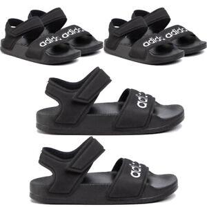 Adidas Kids Boys Adilette Sandals Summer Strap Casual Shoes Sandal Black White