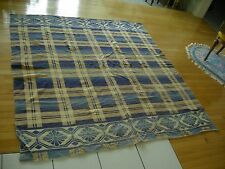 Vintage Beacon Western Camp Blanket Blue Tan Flower Plaid Design geometric (aeB