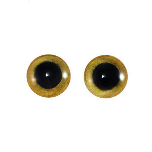 Pair of 12mm Yellow Owl Glass Eyes Flatback Bird Cabs for Jewelry Making Craft
