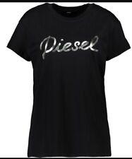 DIESEL Black 100% Cotton T-Shirt Silver Foil Branding Motif on Chest Crew Neck M