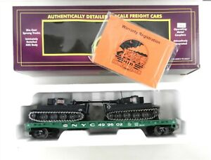 MTH O Flat Car NYC 499602 Green w/2 DC Solido Military Tanks #313 WWII~EC~ T189