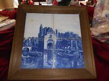 "Vintage Framed Delft Tile 4 Tile Scene W/Tape and 1 Tile Crack Across 15"" x 15"""
