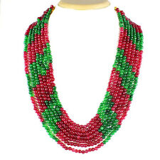 700.00 CTS EARTH MINED 7 LINE RUBY & GREEN EMERALD ROUND SHAPE BEADS NECKLACE
