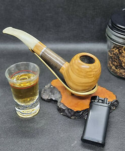 Pfeife Handmade aus Olivenholz mit Mooreiche Unikat 9mm Filter beraucht