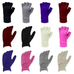 Ladies Womens Soft Warm Knitted Thermal Fullfinger Fingerless Cosy Winter Gloves