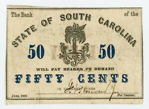 1862 50c The Bank of the State of SOUTH CAROLINA Note - CIVIL WAR Era