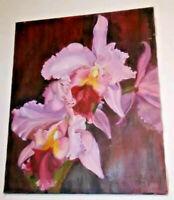 Irises Oil Painting Photo Realistic Still Life Pink Flowers Grenda 24x20 Vintage