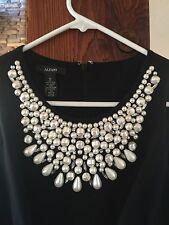 ALFANI COKTAIL HOLIDAY DRESS BLACK PEARLS BLING SZ 10 NWT WEDDING XMAS