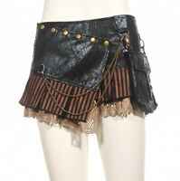 Steampunk Punk Cyber Rave Sexy Free Size Black Mini Skirt by RQBL
