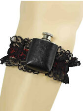 Encaje Negro Garter Con Hip Flask Western burlesco Novedad Fancy Dress Accesorio