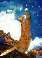 BCB Orange Tabby Cat Ecstasy Inspired by Maxfield Parrish Print of Painting ACEO