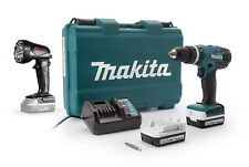 Trapano Avv. con Percuss. Makita HP347DWE 14,4V 1.5Ah 2 Batterie + Torcia LED