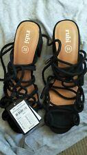 RUBI Size 38 Calvin Strappy  Black Block Heel