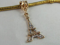 GP EIFFEL TOWER DANGLE CHARM WITH RHINESTONES FOR EUROPEAN STYLE CHARM BRACELETS