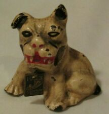 Vintage 1933 World's Fair Cast Iron Bulldog Pen Holder w/ Collar Tag
