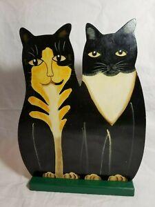 ORIGINAL Vintage 2 Black Cats Shelf Sitter Hand Painted Wood FOLK ART