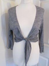 MARKS & SPENCER PER UNA Wool Blend Grey Cropped Wrap Cardigan/Shrug/Bolero UK16