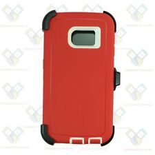 RED WHITE New Defender Case Cover with(Clip fit Otterbox)Samsung Galaxy S6 EDGE